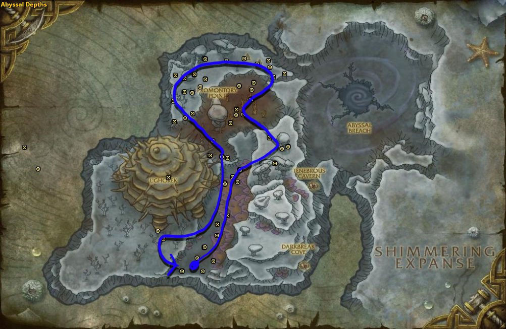 Best route for farming Azshara's Veil in Abyssal Depths.