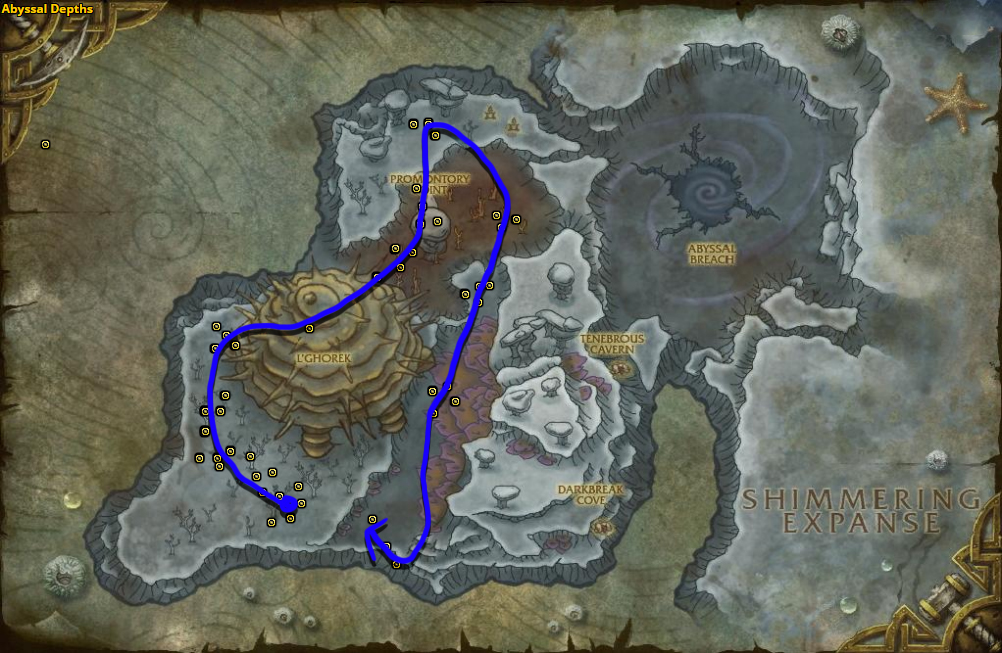 Best route for Stormvine farming in Abyssal Depths.