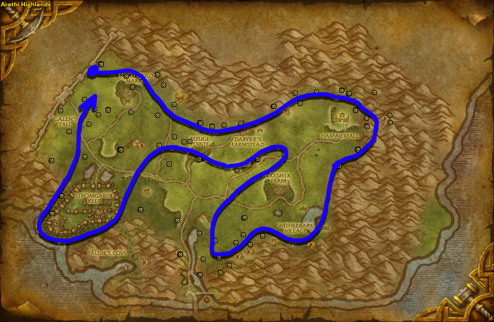 Best route for Goldthorn farming in Arathi Highlands.