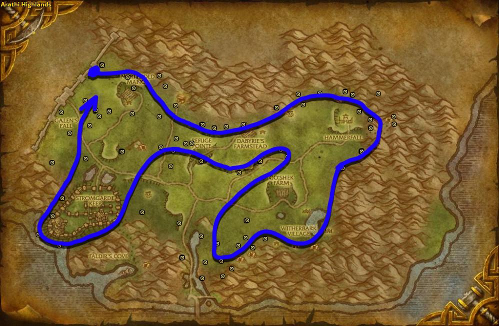 Best route for Goldthorn farming in Arathi Highlands.
