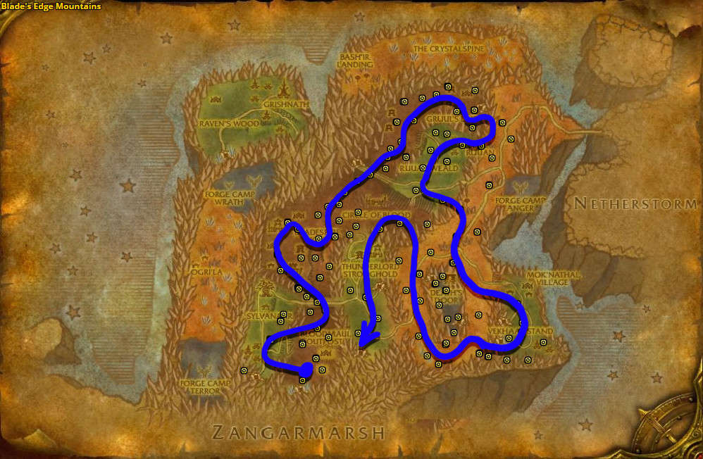 Best route for Felweed farming in Blade's Edge Mountains.