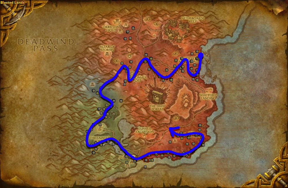 Best route for Dreamfoil farming in Blasted Lands.