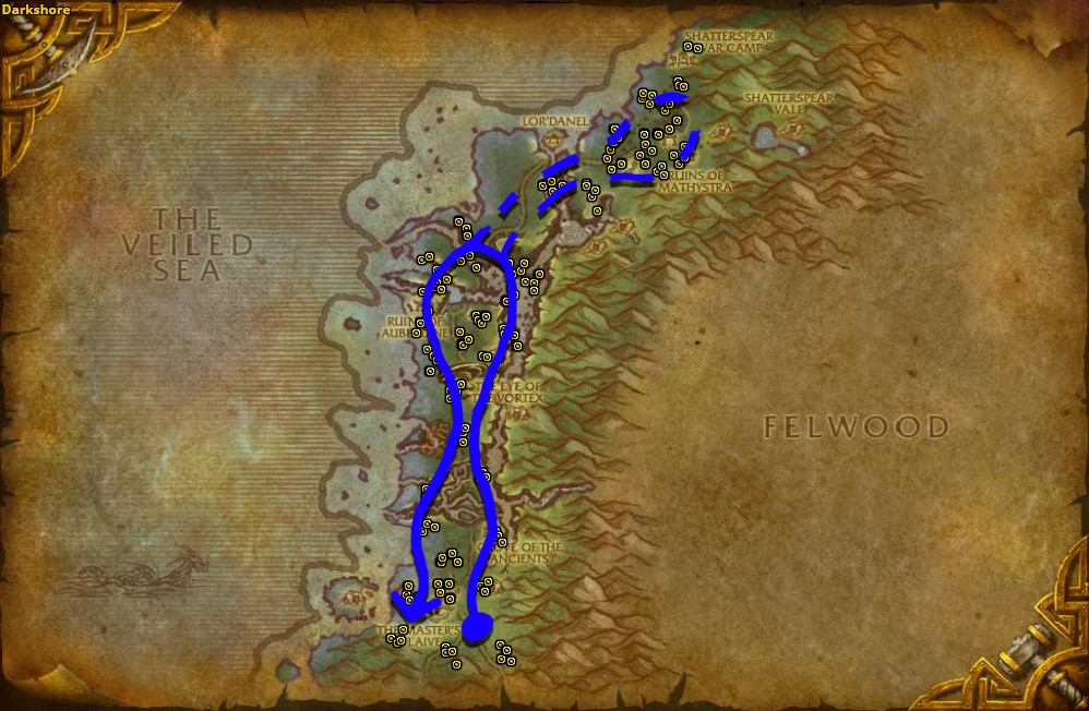 Best route for farming Mageroyal in Darkshore - Alliance.