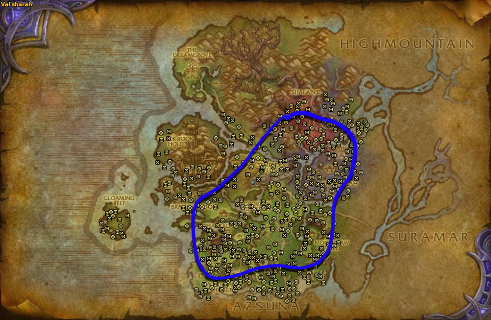 Best route for Dreamleaf farming in Val'sharah.