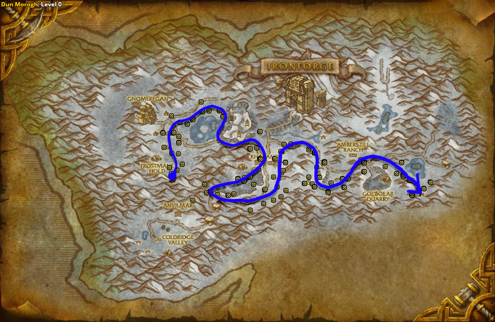 Best route for Peacebloom farming in Dun Morogh - Alliance.