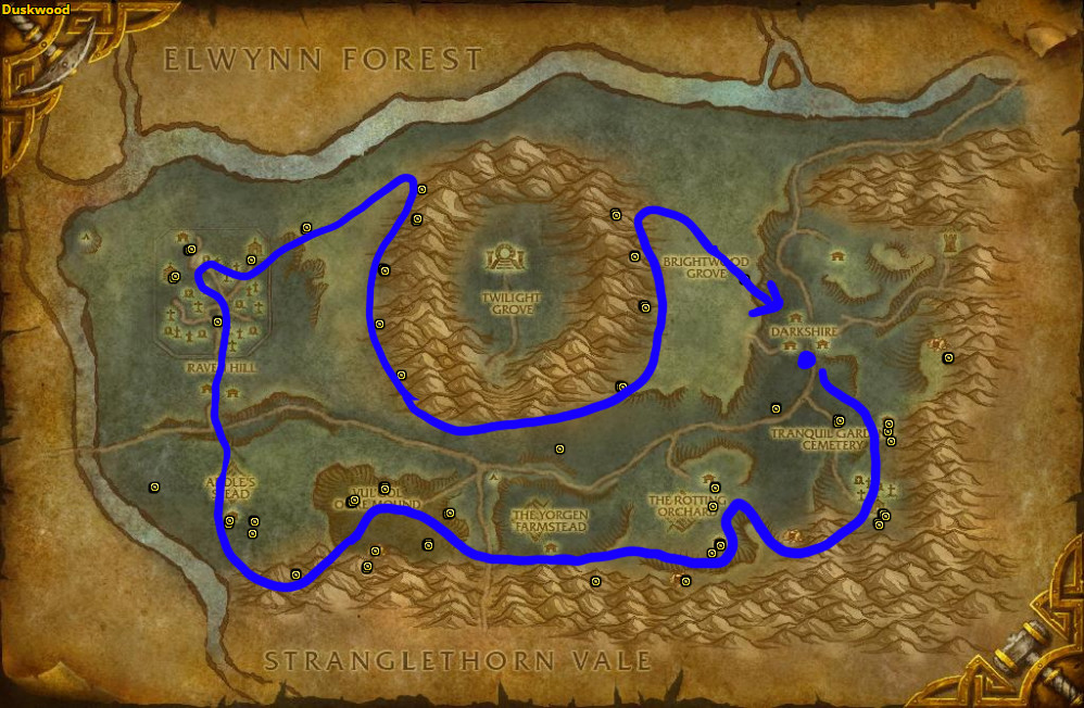 Best route for Bruiseweed farming in Duskwood – Horde.