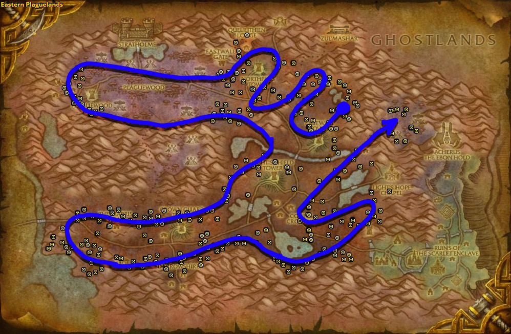 Best route for Khadgar's Whisker farming in Eastern Plaguelands.
