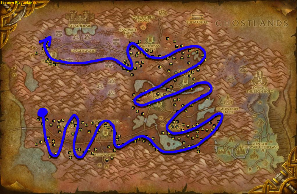 Best route for farming Sungrass in Eastern Plaguelands.