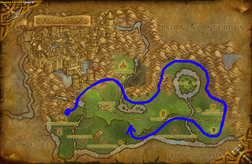 Best route for Earthroot farming in Elwynn Forest – Alliance.