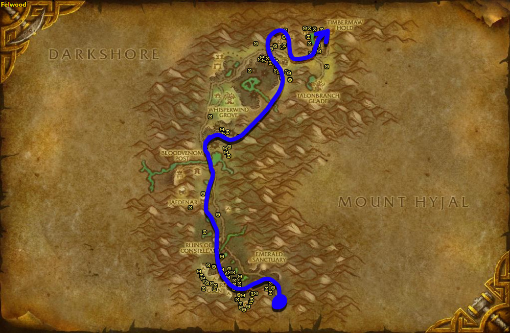 Best route for farming Dreamfoil in Felwood.
