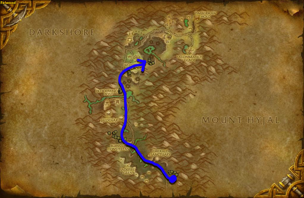 Best route for Purple Lotus farming in Felwood.