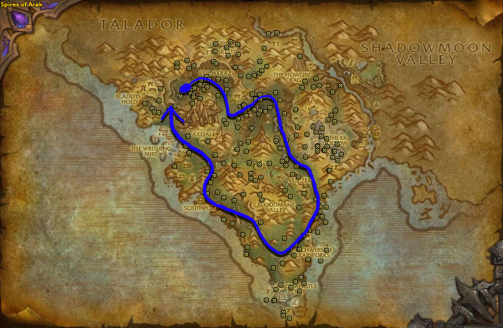 Best route for farming Fireweed in Spires of Arak.