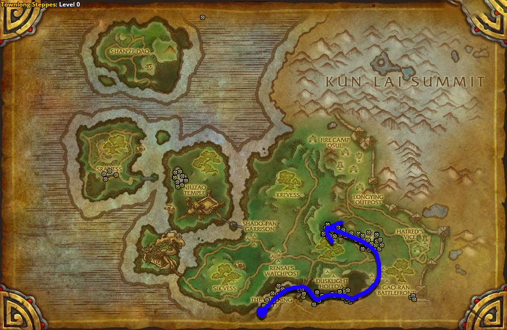 Best route for Fool's Cap farming in Townlong Steppes.