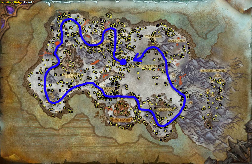 Best route for farming Frostweed in Frostfire Ridge.