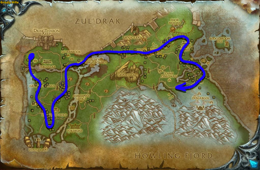 Best route for Goldclover farming in Grizzly Hills.