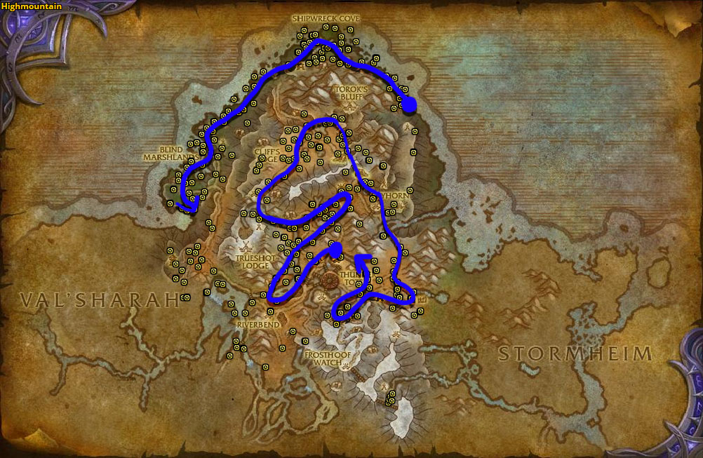 Best route for Foxflower farming in Highmountain.