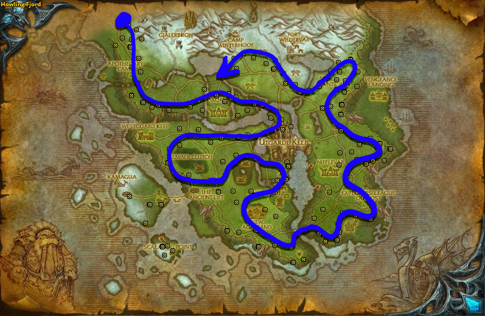 Best route for farming Goldclover in Howling Fjord.