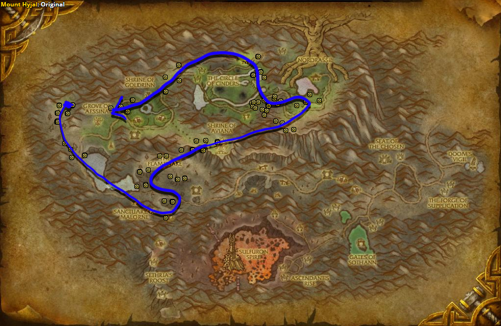 Best route for farming Stormvine in Mount Hyjal.