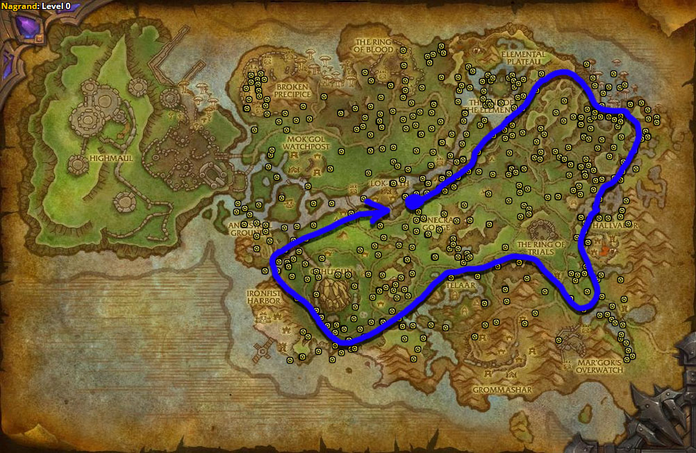 Best route for Nagrand Arrowbloom farming in Nagrand.