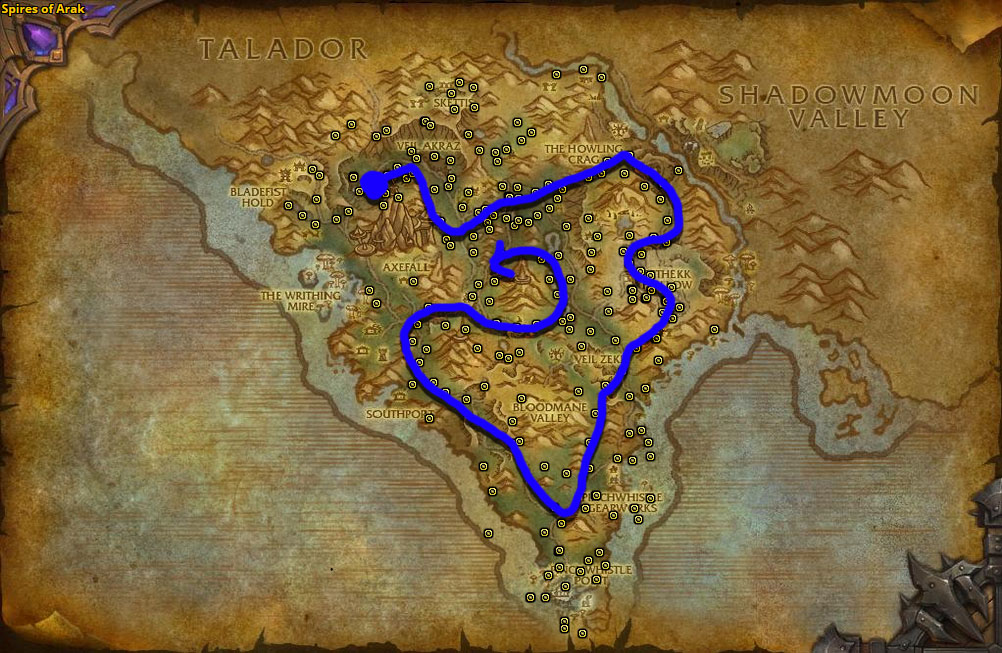 Best route for Talador Orchid farming in Spires of Arak.