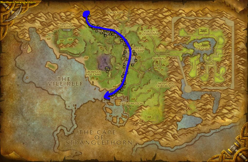 Best route for farming Liferoot in Northern Stranglethorn.