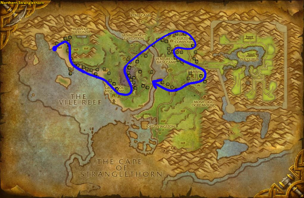 Best route for Wild Steelbloom farming in Northern Stranglethorn.