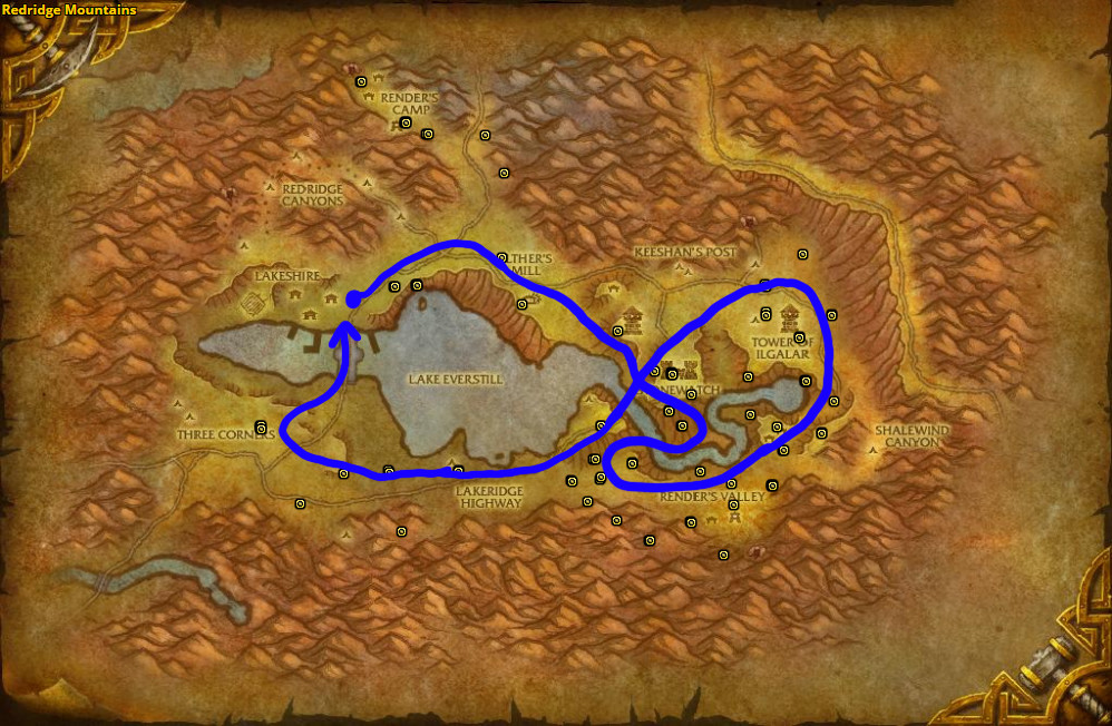 Best route for farming Bruiseweed in Redridge Mountains – Alliance.