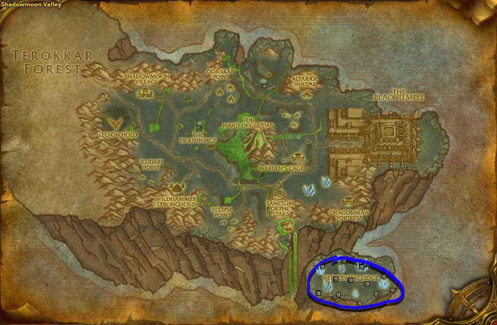 Best route for farming Mana Thistle in Shadowmoon Valley.