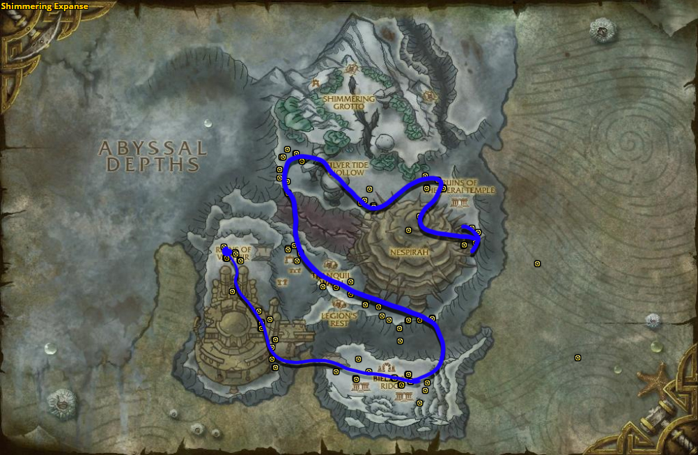Best route for Azshara's Veil farming in Shimmering Expanse.