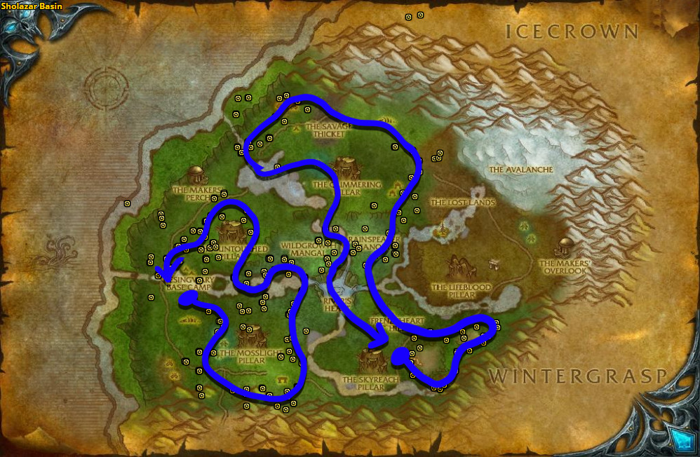 Best route for Adder's Tongue farming in Sholazar Basin.