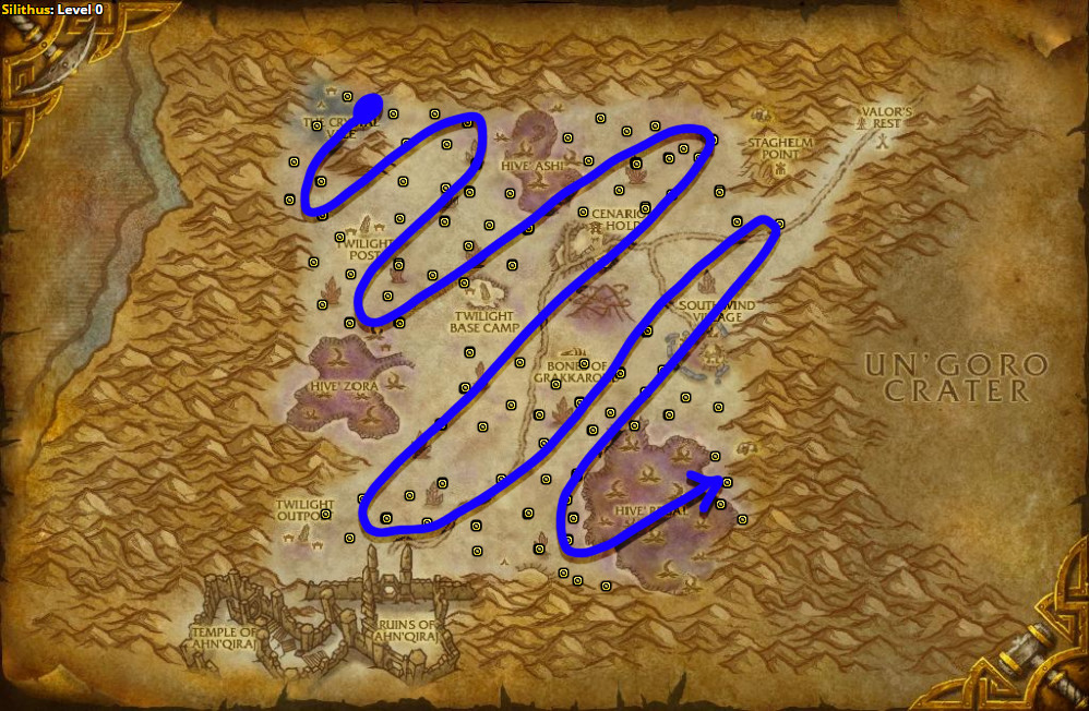 Best route for farming Dreamfoil in Silithus.