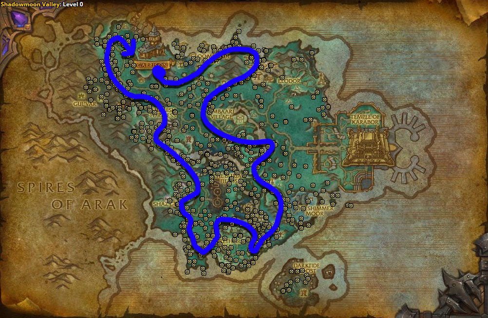 Best route for Starflower farming in Shadowmoon Valley.
