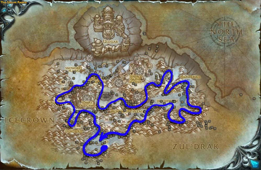 Best route for Icethorn farming in The Storm Peaks.