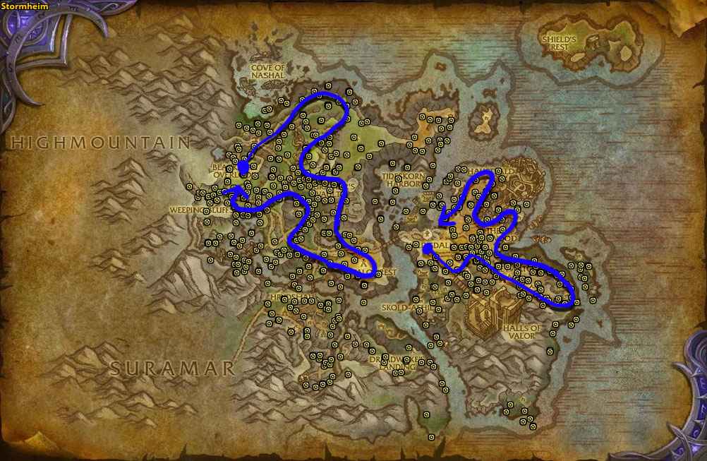 Best route for Fjarnskaggl farming in Stormheim.