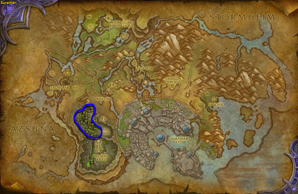 Location of Felfire Basilisks in Suramar.