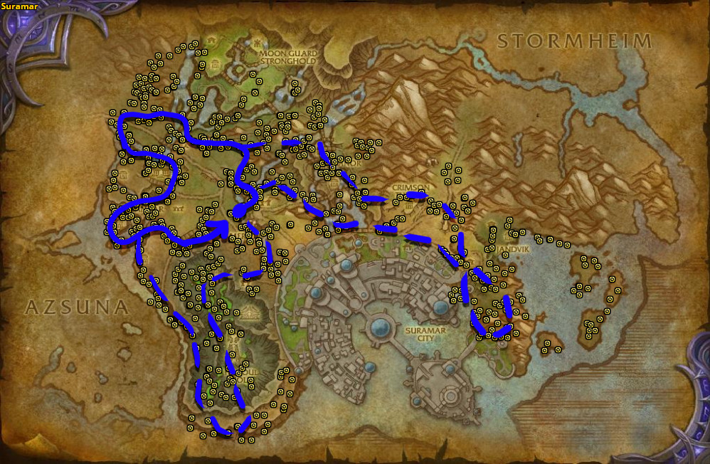Best route for farming Leystone Ore in Suramar.