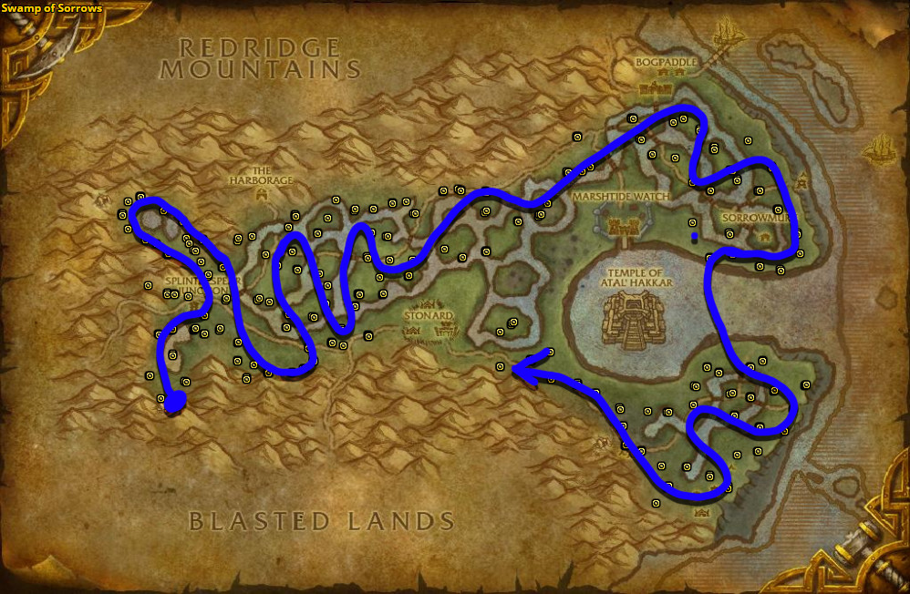 Best route for Golden Sansam farming in Swamp of Sorrows.