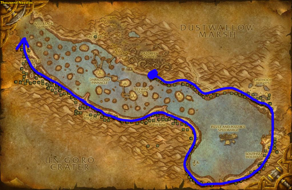 Best route for Sungrass farming in Thousand Needles.