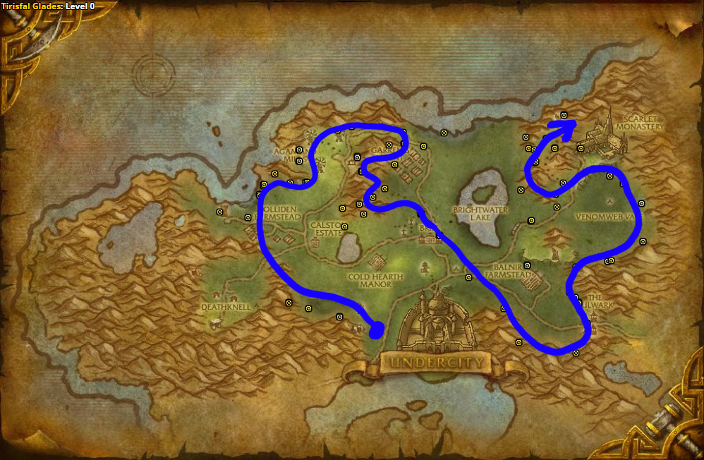 Best route for farming Earthroot in Tirisfal Glades – Horde.