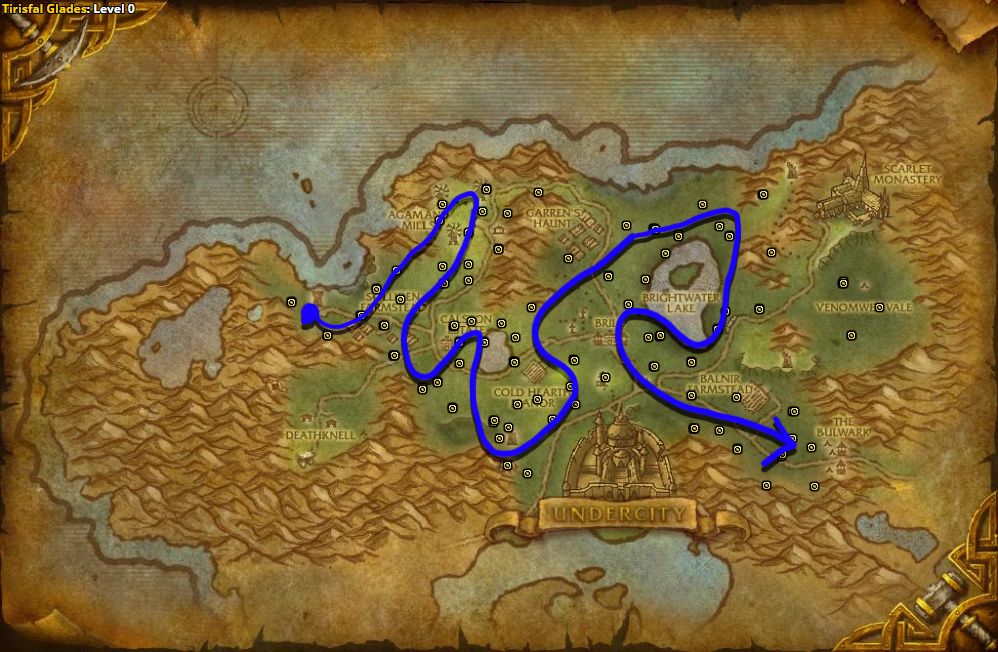 Best route for farming Peacebloom in Tirisfal Glades - Horde.