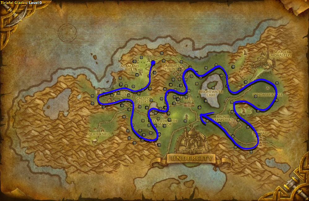 Best route for farming Silverleaf in Tirisfal Glades - Horde.