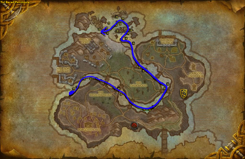 Best route for farming Azshara's Veil in Tol Barad Peninsula.