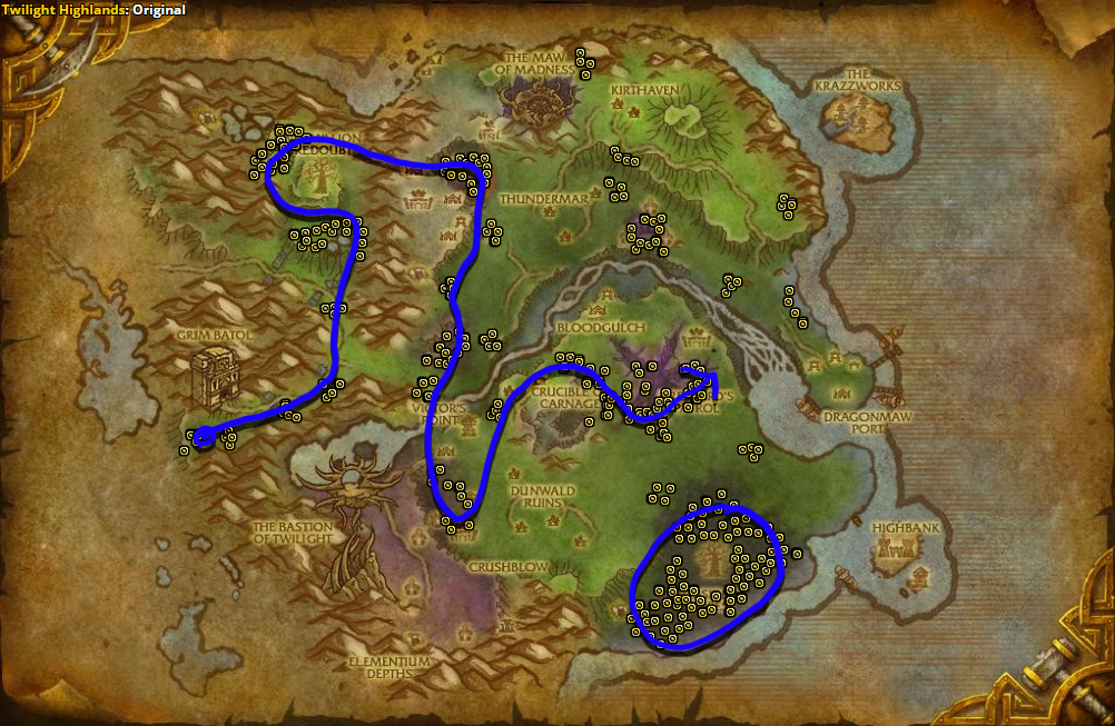 Best route for farming Cinderbloom in Twilight Highlands.