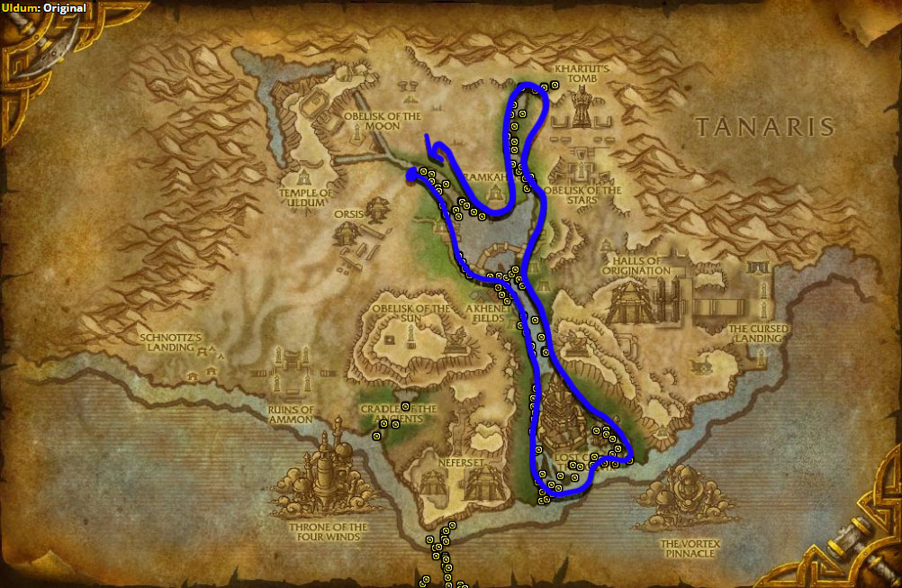 Best route for Whiptail farming in Uldum.