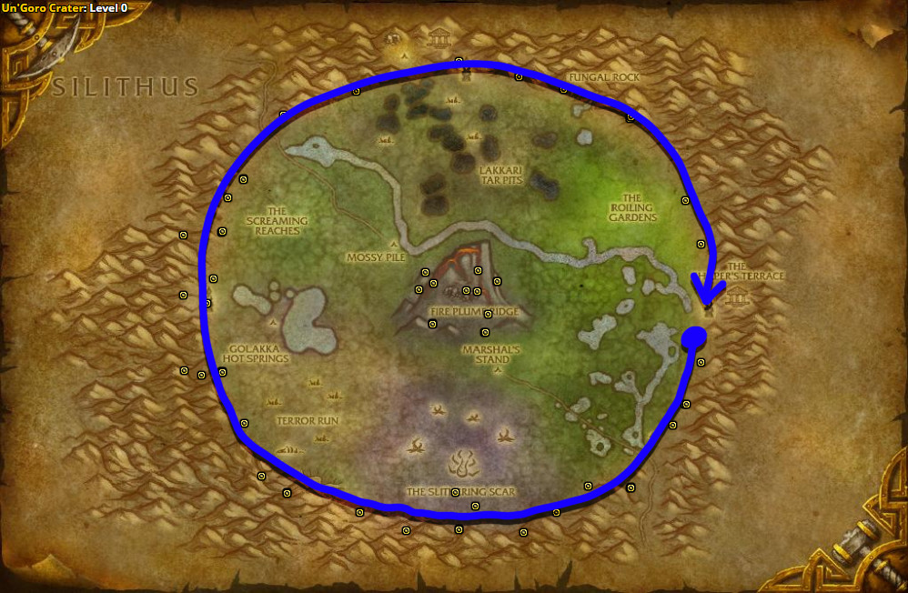 Best route for farming Mountain Silversage in Un'Goro Crater.
