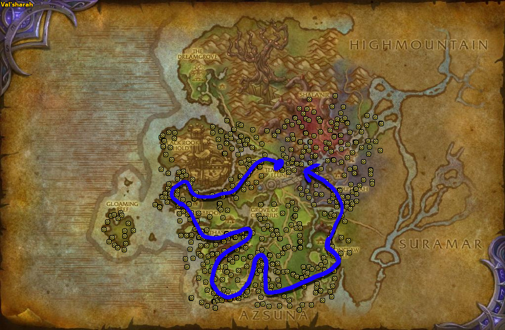 Best route for Felslate farming in Val'Sharah.
