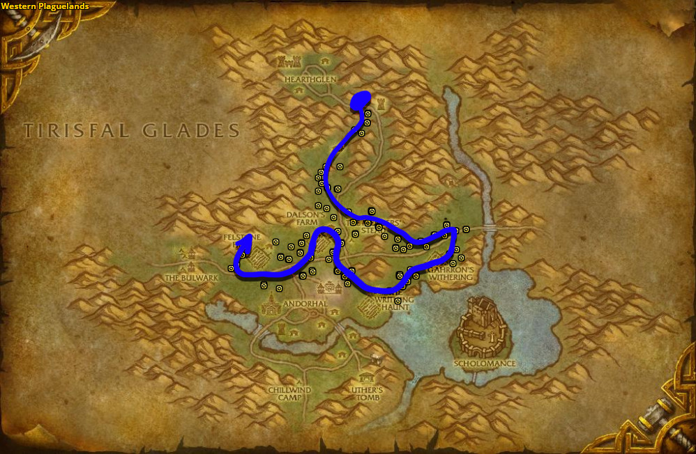 Best route for farming Kingsblood in Western Plaguelands.