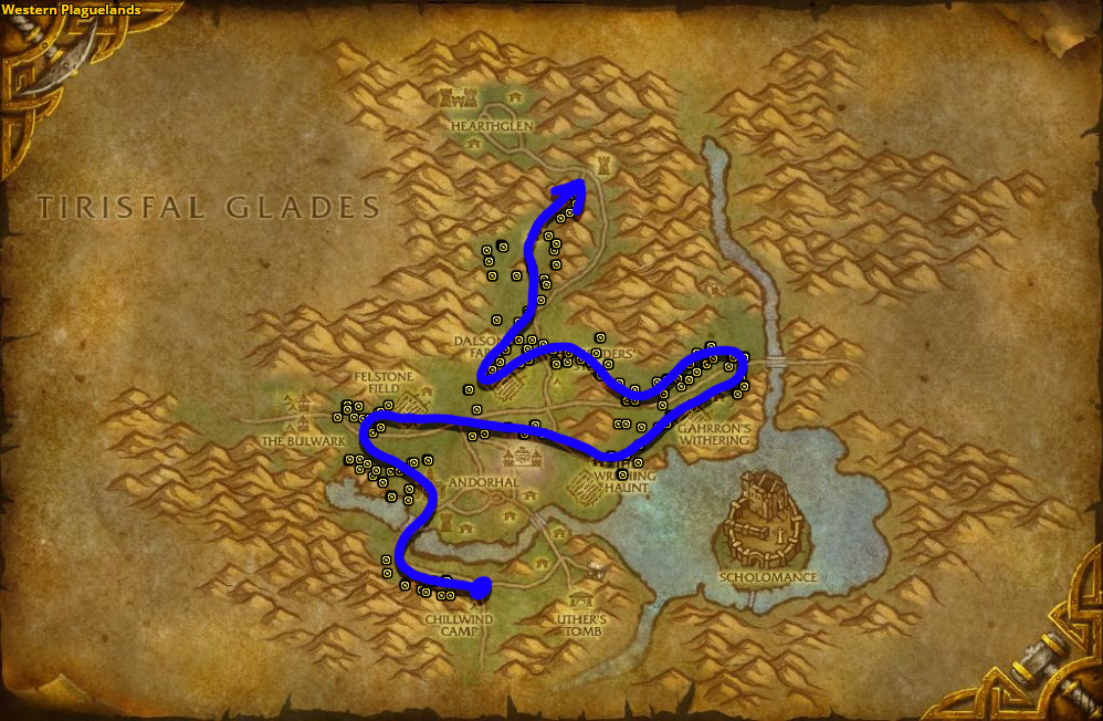 Best route for farming Khadgar's Whisker in Western Plaguelands.