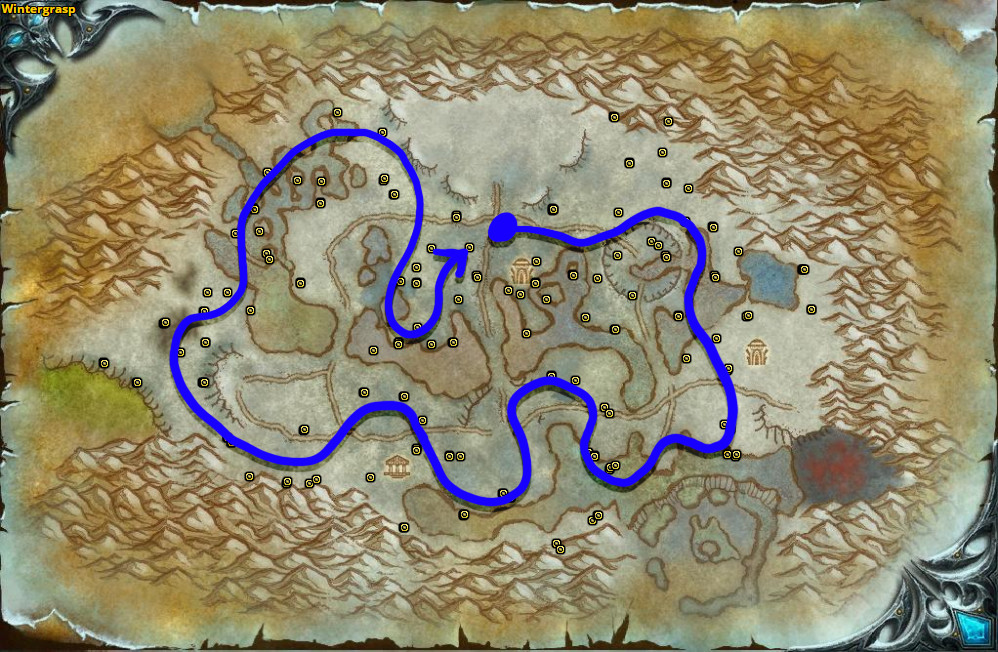 Best route for Frost Lotus farming in Wintergrasp.