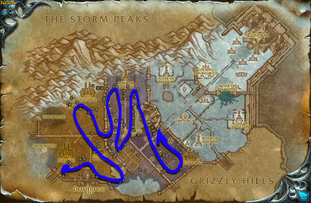 Best route for Talandra's Rose farming in Zul'Drak.